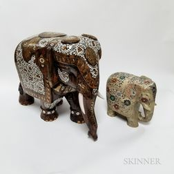 Two Indian Stone-inlaid Elephants