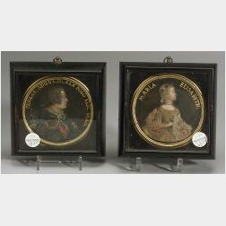 Pair of Wax Portraits Roundels of Royalty