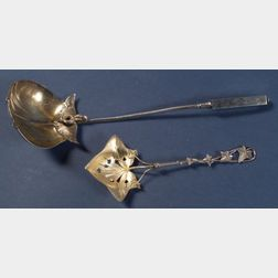 Two American Aesthetic Movement Sterling Serving Spoons
