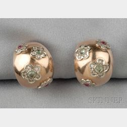12kt Rose Gold Gem-set Earclips
