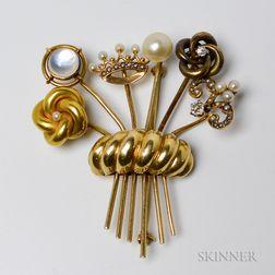 14kt Gold Stickpin Brooch