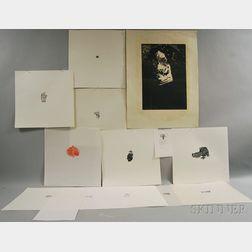 Leonard Baskin (American, 1922-2000)      Thirteen Unframed Wood Engravings.