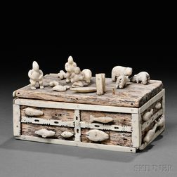 East Greenland Miniature Wood Chest with Bone Attachments