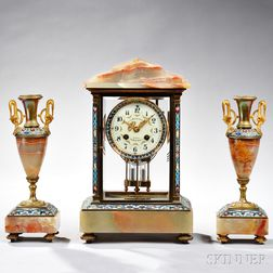 Champleve and Marble Crystal Regulator Mantel Clock and Garniture