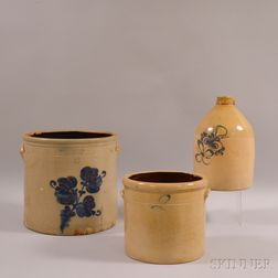 A.O. Whittemore Cobalt-decorated Crock