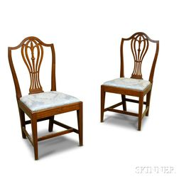Pair of Federal Cherry Shield-back Side Chairs