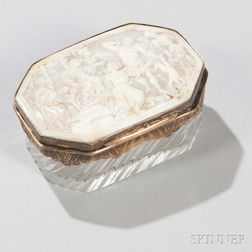 Silver-mounted Carved Shell Cameo and Crystal Box
