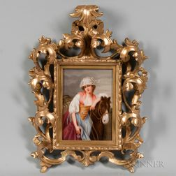 German Porcelain Plaque of a Maiden with a Horse