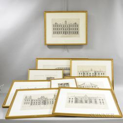 Nine Framed Architectural Engravings