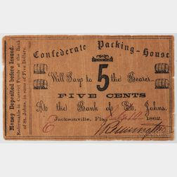 Confederate Packing-House 5 Cent Note