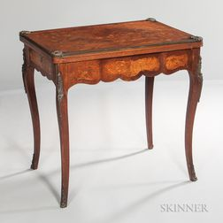 Louis XV-style Marquetry-inlaid Swivel-top Card Table