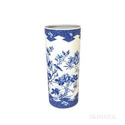Large Blue and White Ceramic Umbrella Stand