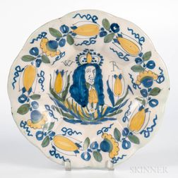 Dutch Delft Portrait Charger of William III