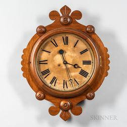 "F. Krober Walnut ""Maltese"" Wall Clock"