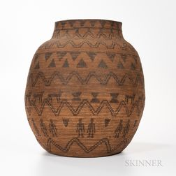 Large Southwest Coiled Pictorial Basketry Olla