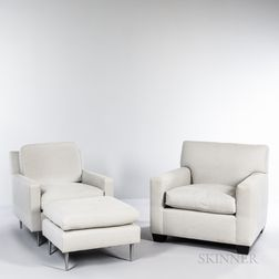 Two Contemporary Lounge Chairs and an Ottoman