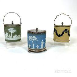 Three Wedgwood Jasper and Silver-plate Biscuit Jars