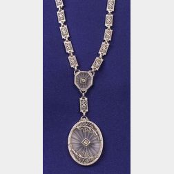 Art Deco Rock Crystal and Diamond Necklace