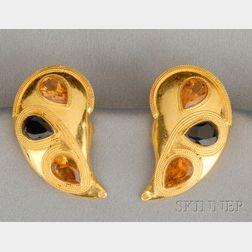 22kt Gold and Gem-set Earclips