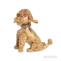 18kt Gold Poodle Brooch