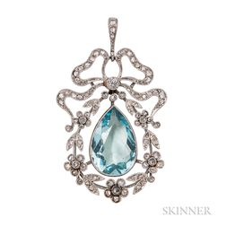 Edwardian Platinum, Aquamarine, and Diamond Pendant