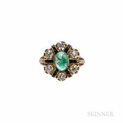 Antique 14kt Gold, Emerald, and Diamond Ring