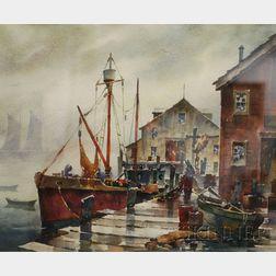 John Cuthbert Hare (American, 1908-1978)      Wharf Scene