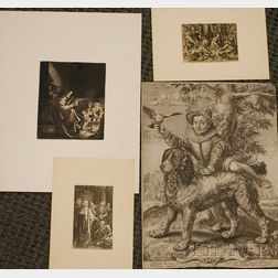 Lot of Four Unframed Old Master Prints      Jan van de Velde the Younger (Dutch, born c. 1593-1641), The Pancake   Woman