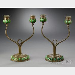 Pair of Tiffany Glass & Decorating Co. Candelabra