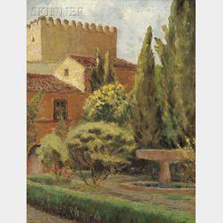 William Posey Silva (American, 1859-1948)      Garden, Alhambra--Spain