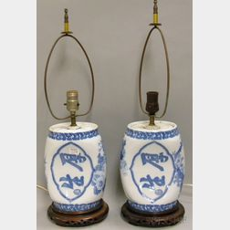 Pair of Japanese Blue and White Porcelain Pillows/Table Lamps