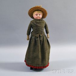 German Painted Metal Shoulder Head Doll
