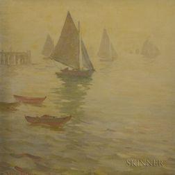 Herbert Cyrus Farnum (American, 1866-1925)      Sailboats in Fog