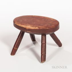 Red-painted and Decorated Child's Windsor Stool