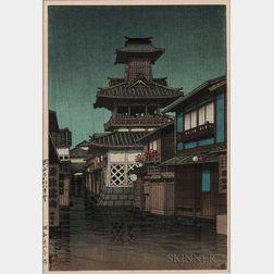 Kawase Hasui (1883-1957), Bell Tower in Okayama in Rain