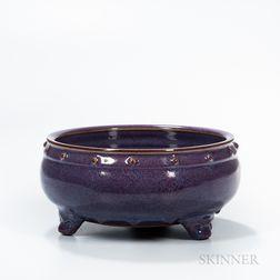 Mottled Purple-glazed Jun-type Tripod Censer