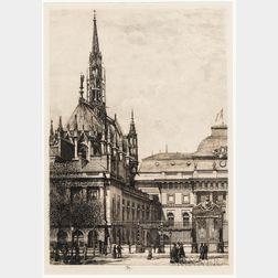 Lucien Marcelin Gautier (French, 1850-1925)    Street View of La Sainte-Chapelle, Paris