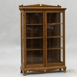 Beaded and Glazed Oak Cabinet