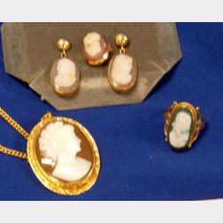 Stone Cameo Suite, Cameo Pin Pendant, and Cameo Ring.