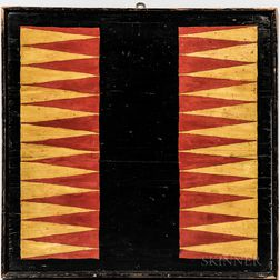 Red- and Yellow-painted Backgammon and Parcheesi Game Board
