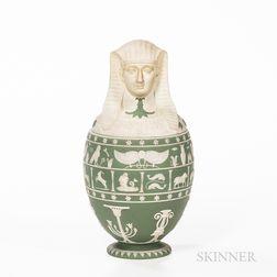 Wedgwood Green Jasper Dip Canopic Jar and Cover