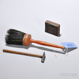 Horsehair Brush, Jeweler's Hammer, and Printing Block