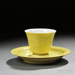 Yellow-glazed Porcelain Teacup with Saucer