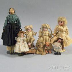 Nine Assorted Small Dolls