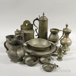 Seventeen Pewter Tableware Items