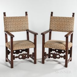 Pair of Italian Renaissance Revival Walnut Armchairs