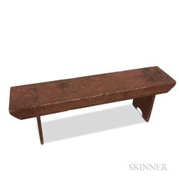 Country Salmon-painted Pine Bench.     Estimate $200-400