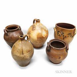 Thirteen Mostly Boston and Charlestown Stoneware Vessels