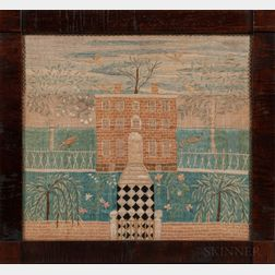Silk Needlework Picture of a House in North Andover, Massachusetts