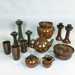 Thirteen Pieces of Ben Owen Pottery Tableware